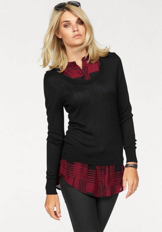 Laura Scott 2-in-1-Pullover Karo mit Uni in schwarz-rot