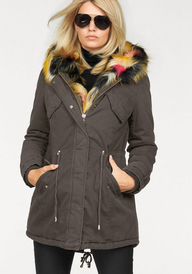 Laura Scott Parka mit trendy multicolor Fellimitat in khaki