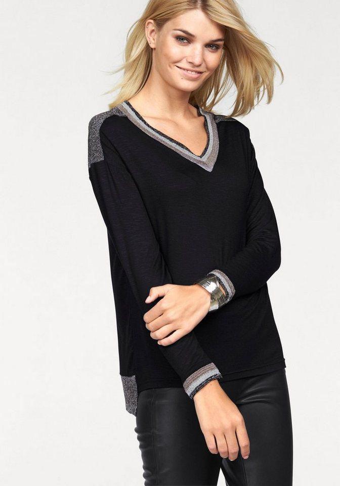 Laura Scott Langarmshirt mit glänzenden Details in schwarz