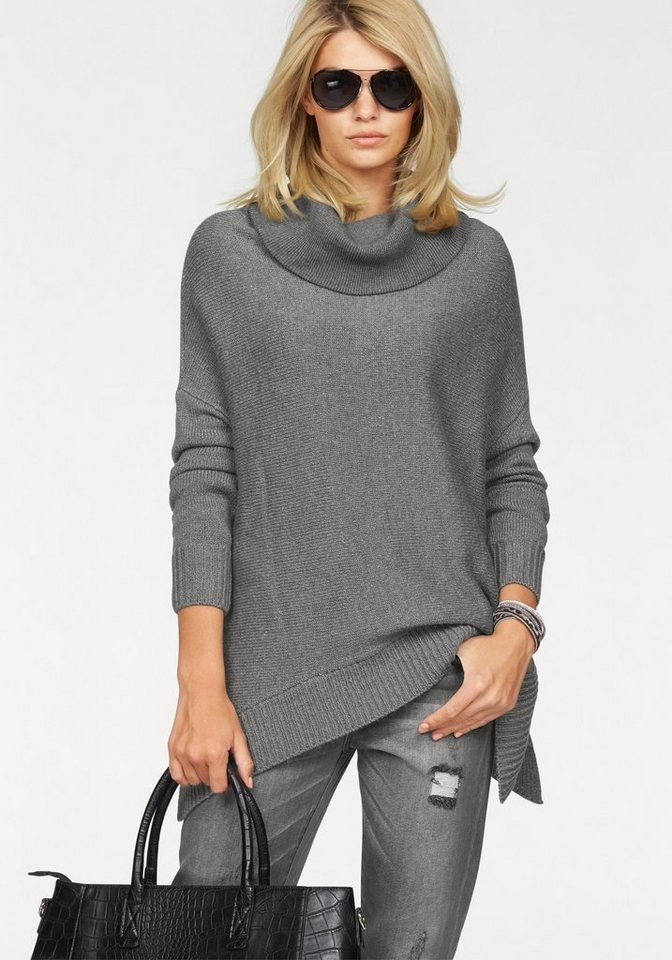 Laura Scott Rollkragenpullover in modischer Oversized-Form in grau