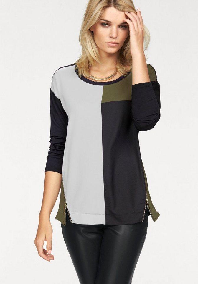 Laura Scott Blusenshirt im Farb-und Materialmix in schwarz-khaki-weiß