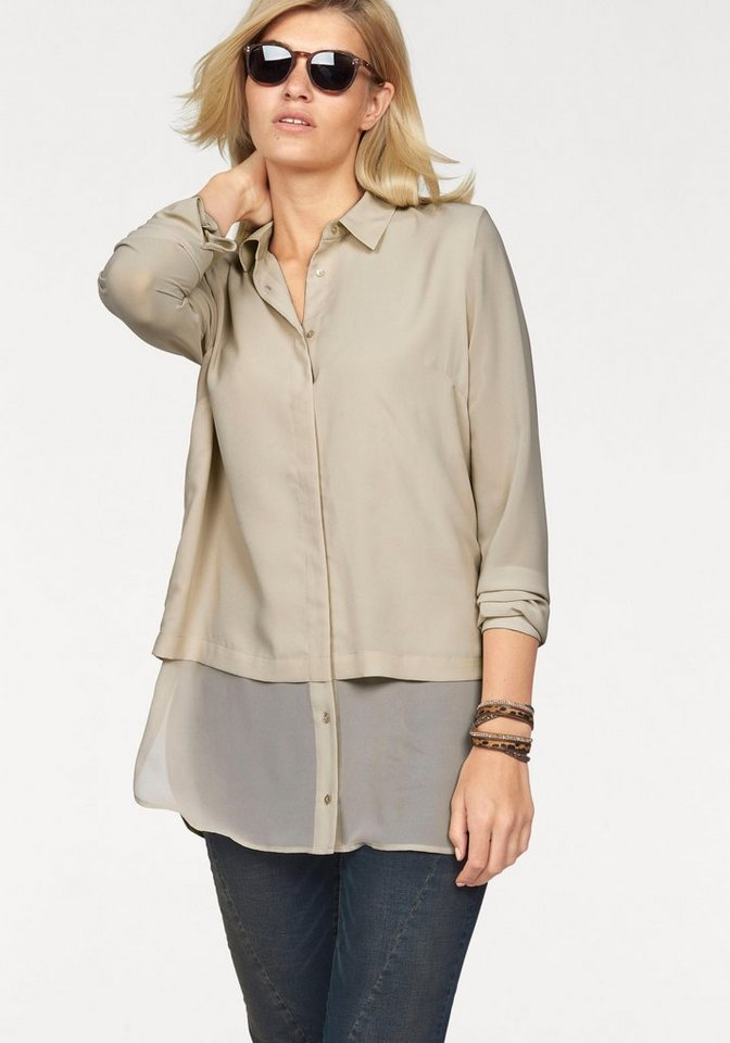 Laura Scott Longbluse im modischem Lagenlook in beige