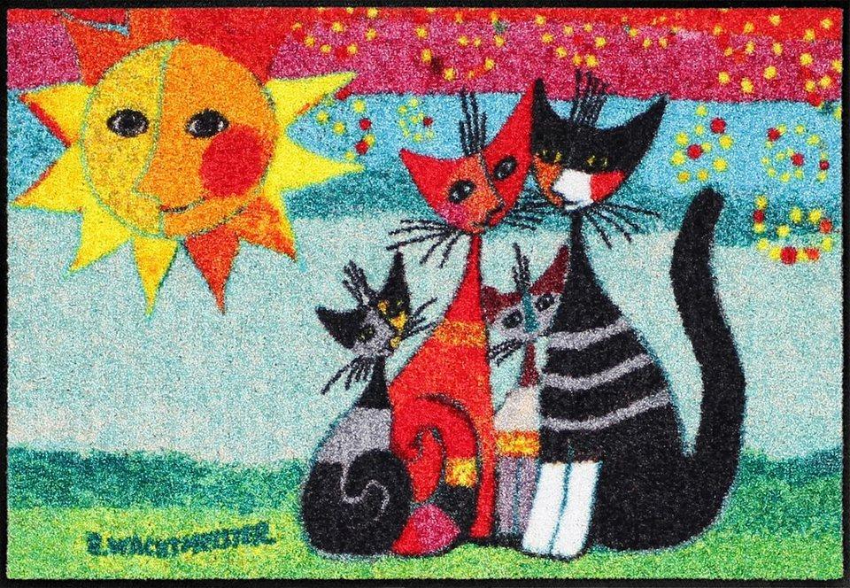Fußmatte, Rosina Wachtmeister, »Momenti di felicita«, mit Katzenmotiv in bunt