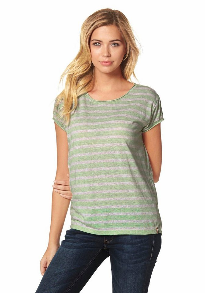 Hilfiger Denim T-Shirt »Amelie« garngefärber Ringel in lindgrün-beige