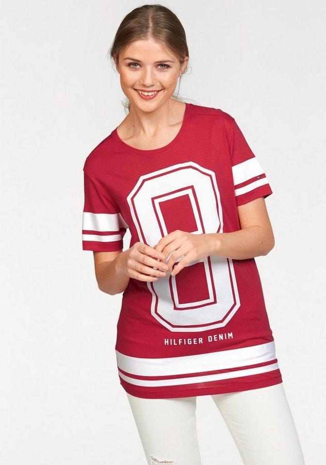 Hilfiger Denim T-Shirt mit großem Zahlendruck in rot-weiß-bedruckt