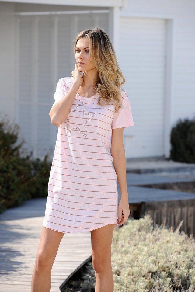 Bench Sportives Nachthemd in kurzer Länge mit Streifen in rosa meliert-gestreift