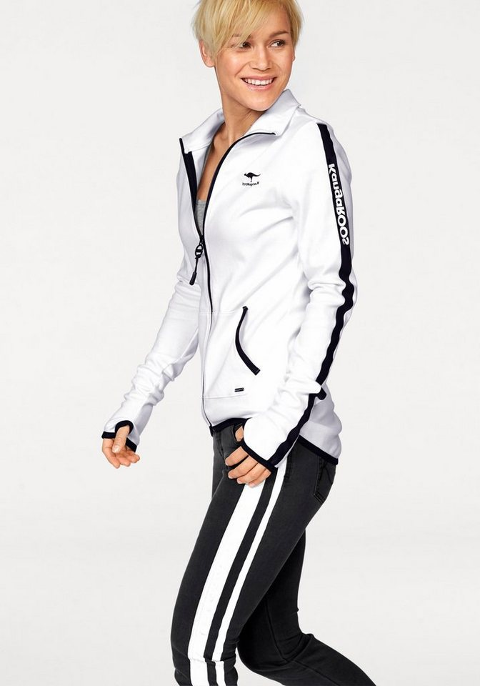 KangaROOS Sweatjacke mit sportlichen Streifen an den Ärmeln in weiß-schwarz