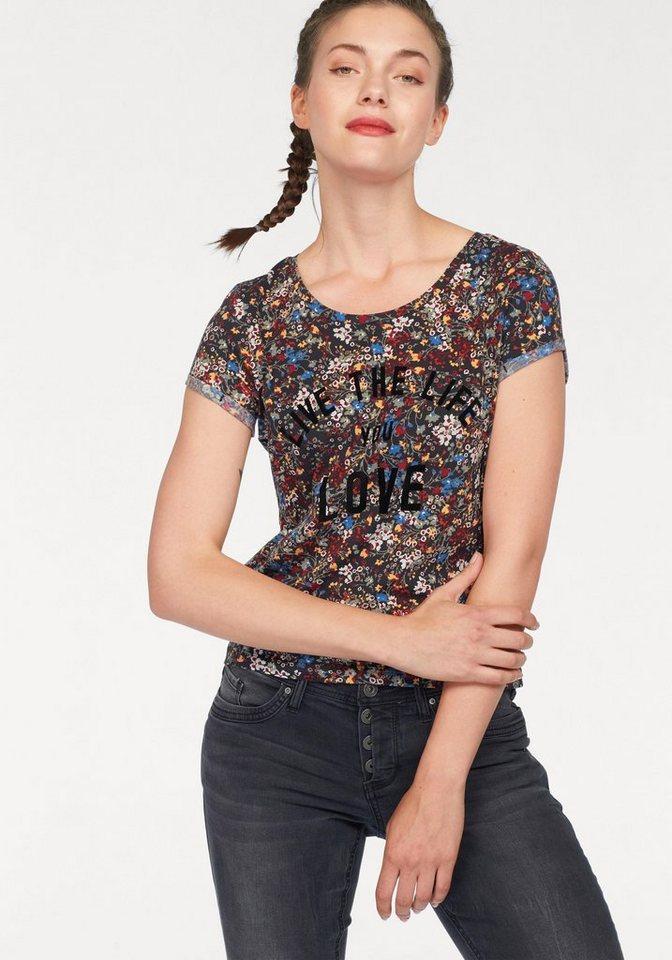 Q/S designed by T-Shirt mit Flockdruck in schwarz-bedruckt
