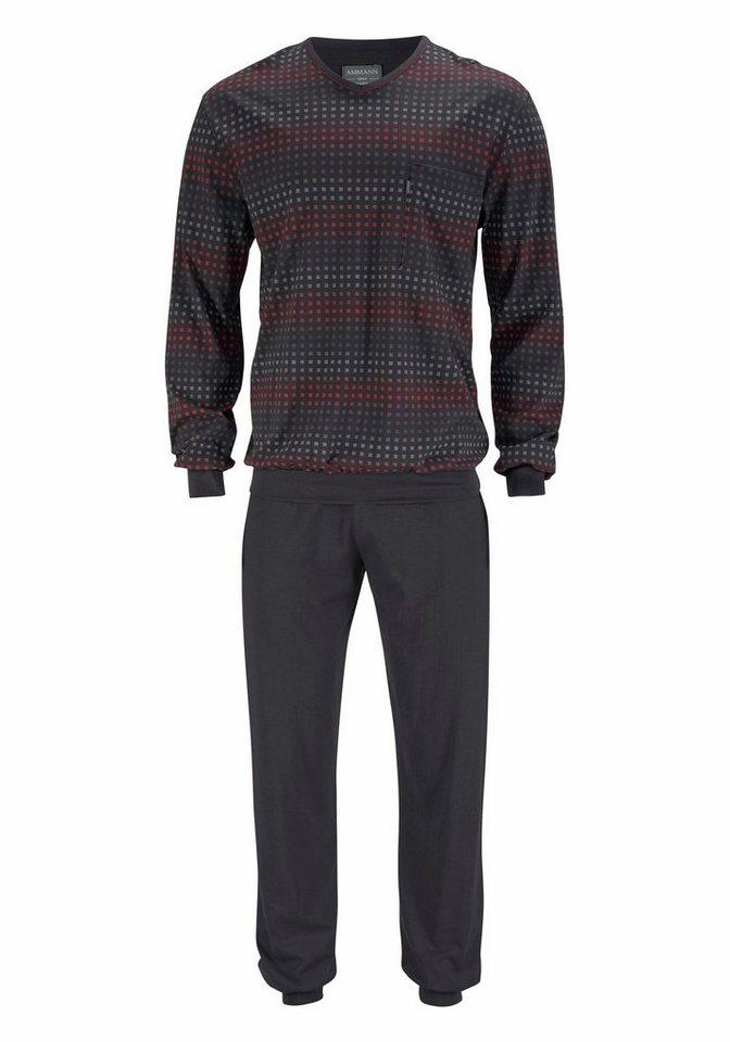 Ammann, langer Pyjama, Shirt und Hose mit Bündchen in anthrazit