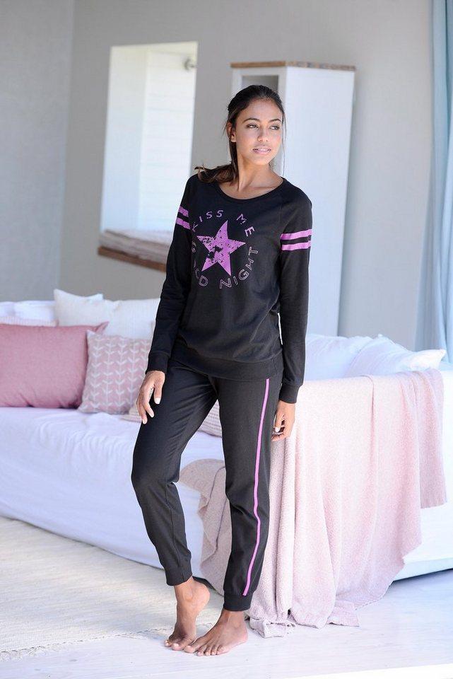 Buffalo Langer Pyjama im Sports-Look in schwarz/schwarz