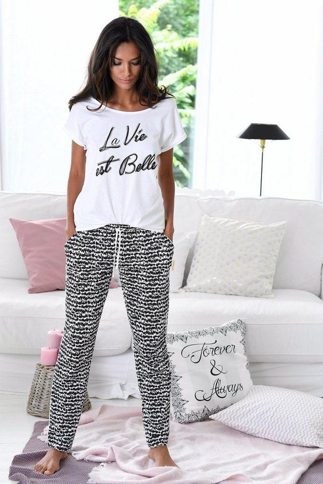 s.Oliver RED LABEL Bodywear Pyjama im Schwarz-Weiß-Design »La Vie est Belle« in ecru/schwarz gemustert