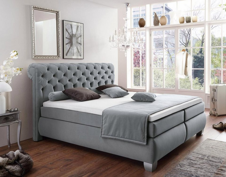 boxspringbett york 180 200 bettkastenschublade weiss. Black Bedroom Furniture Sets. Home Design Ideas