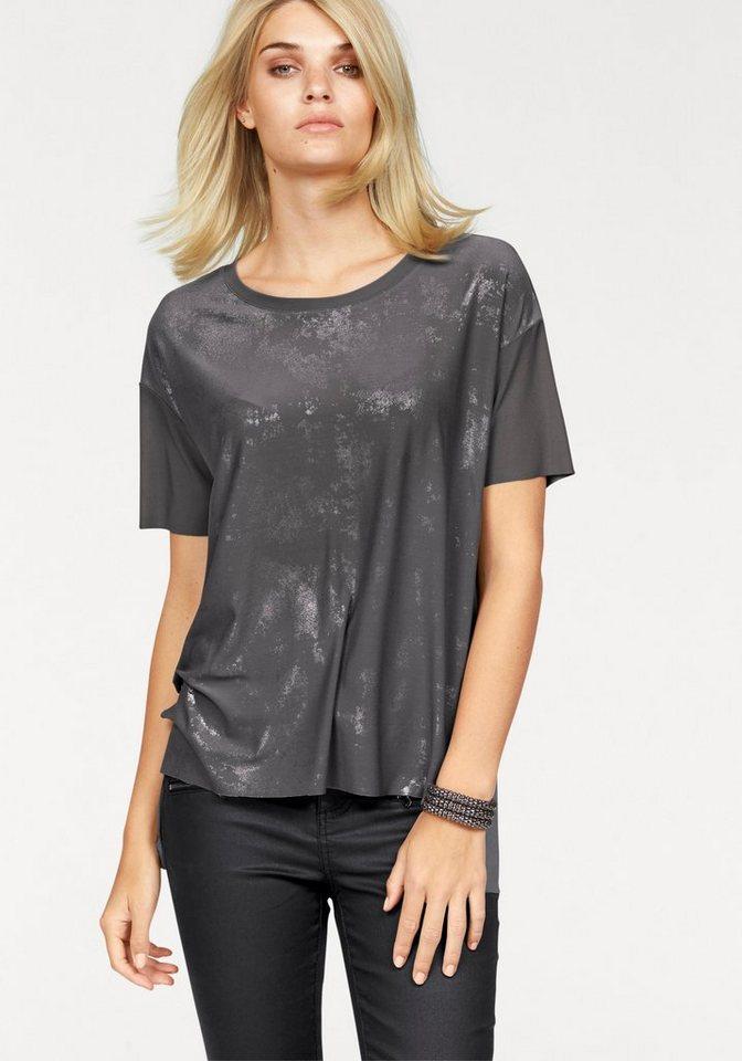 Laura Scott Rundhalsshirt hinten länger geschnitten in grau