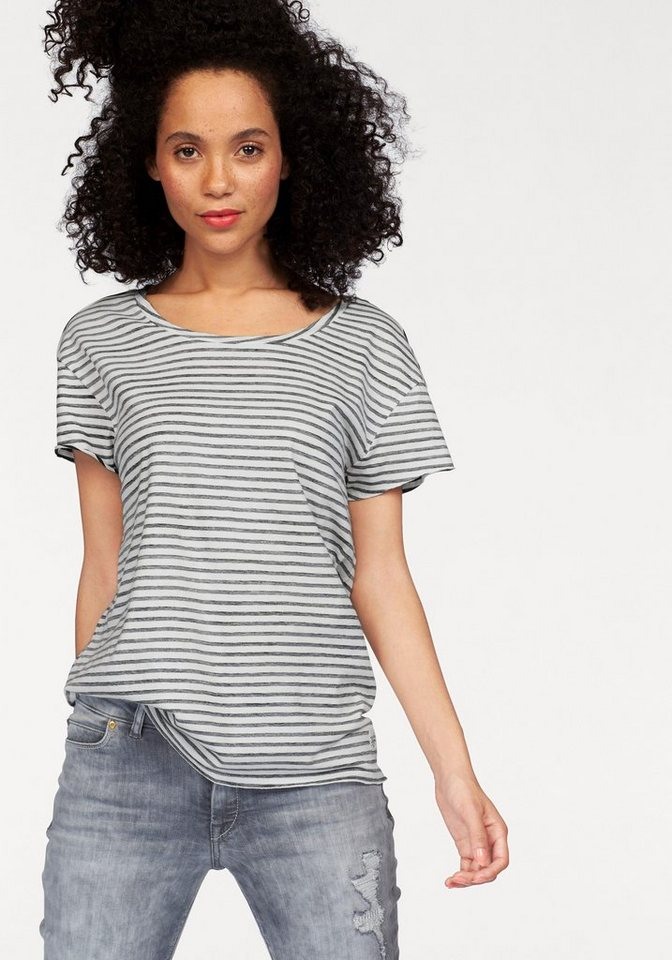 Marc O'Polo DENIM T-Shirt in weiß-schwarz-gestreift