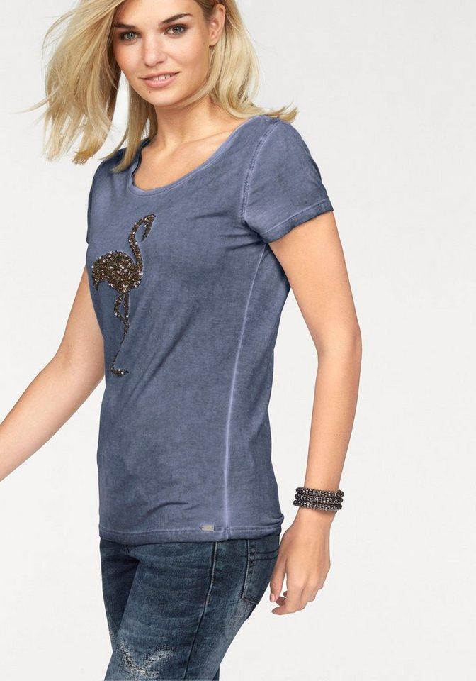 Laura Scott T-Shirt mit Motivstickerei: Flamingo in graublau