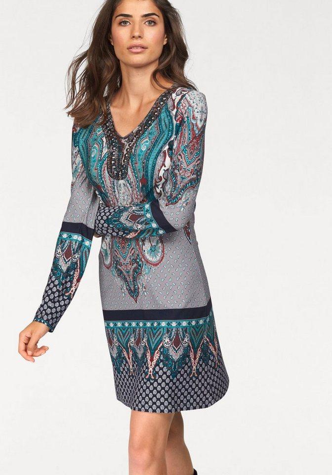Boysen's Jerseykleid mit Bordürendruck und hochwertigen Schmuckelementen in grau-türkis