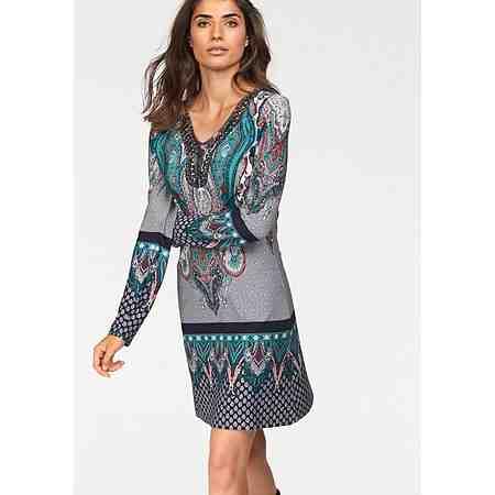 Boysen's Jerseykleid mit Bordürendruck und hochwertigen Schmuckelementen