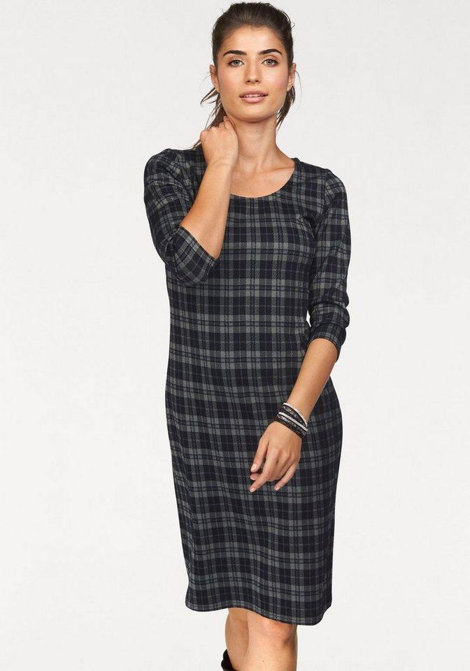 Boysen's Karokleid aus elastischer Jerseyware in grau-schwarz-kariert