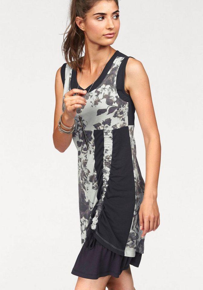 Boysen's Jerseykleid im Lagenlook mit Raffung in grau-weiß-geblümt