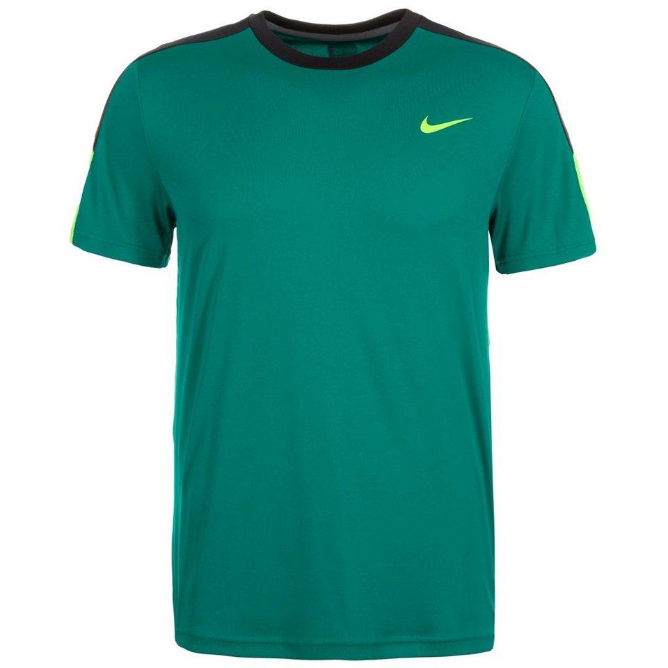 NIKE Team Court Crew Tennisshirt Herren in grün / schwarz