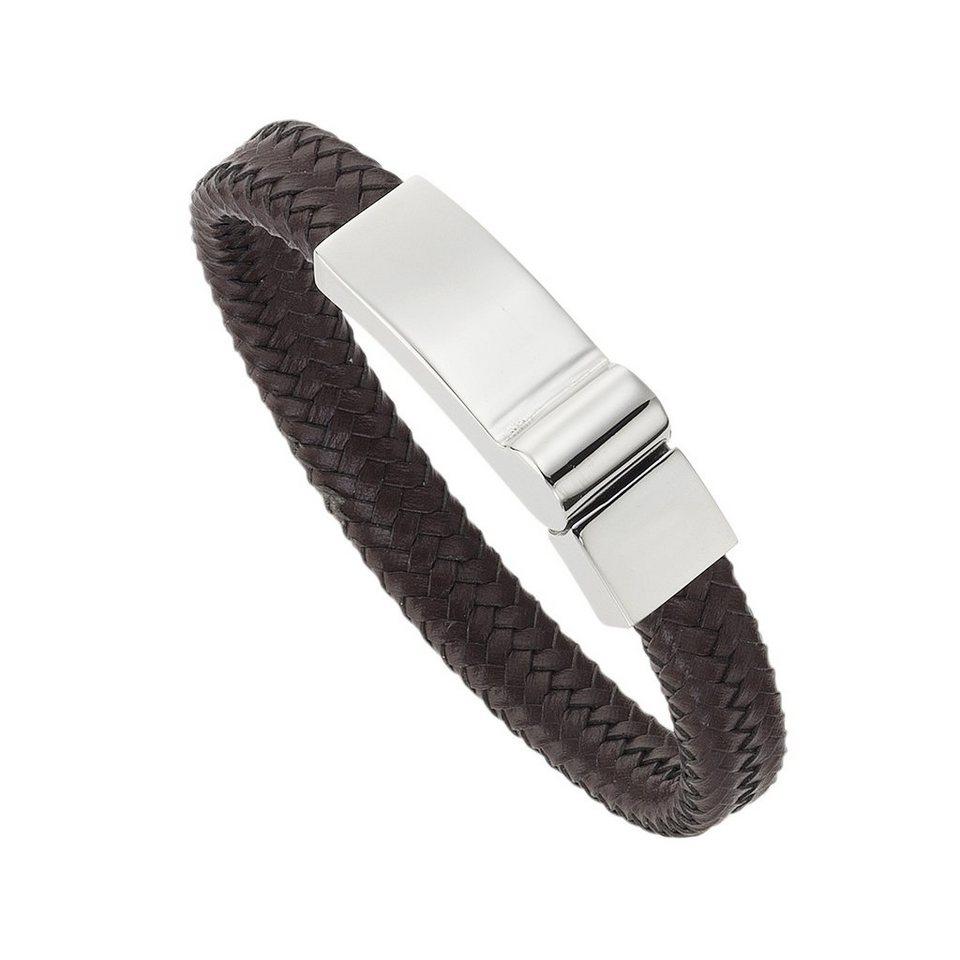 Zeeme Armband »Leder braun Edelstahlverschluß« in braun