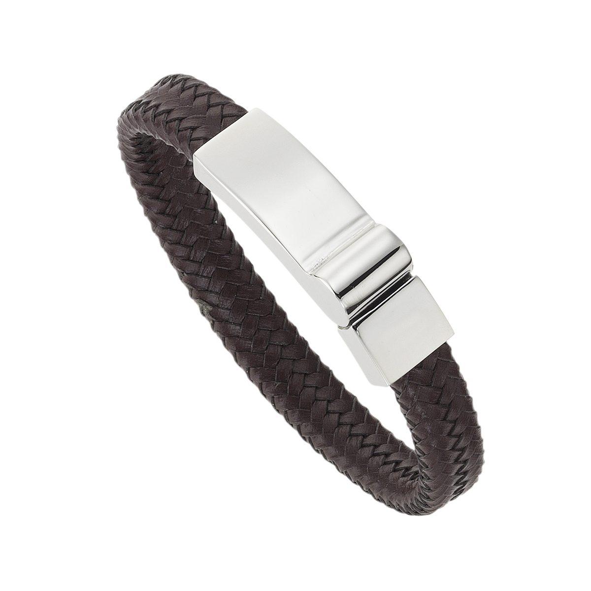 Zeeme Armband »Leder braun Edelstahlverschluß«