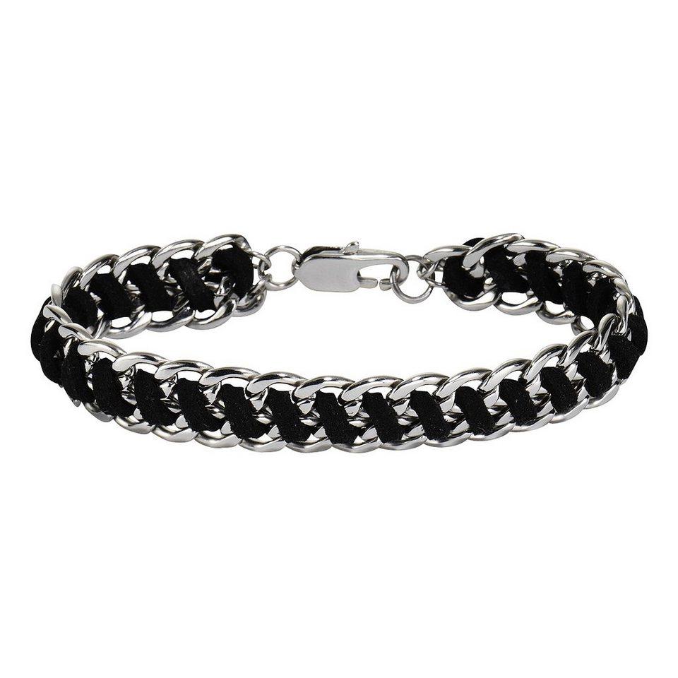 Zeeme Armband »Edelstahl mit Textil schwarz« in schwarz