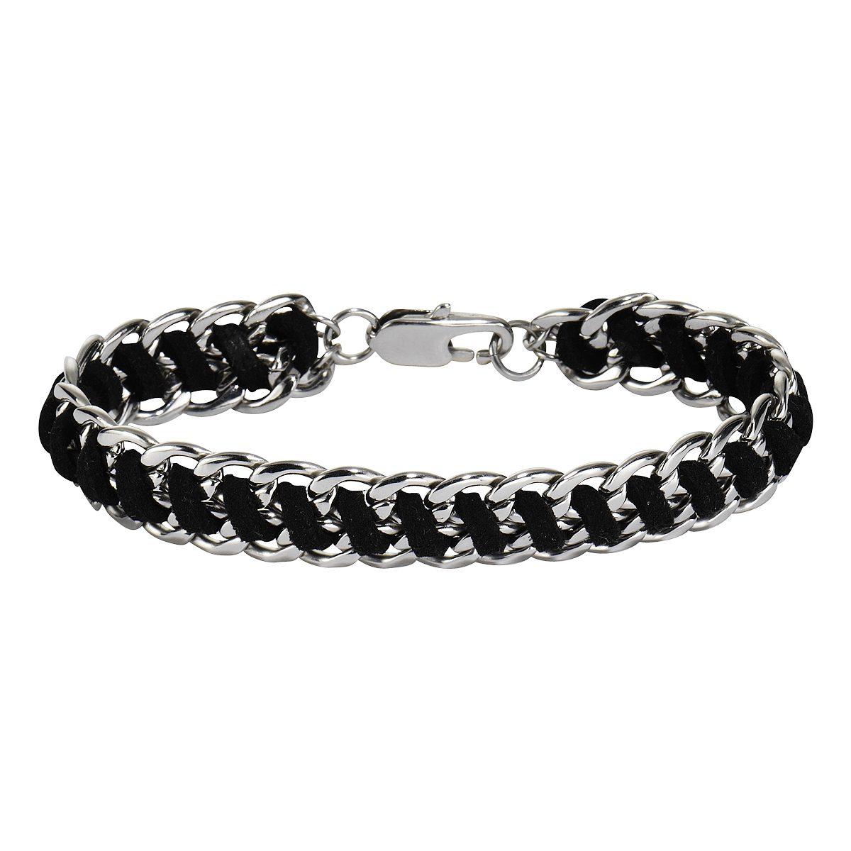 Zeeme Armband »Edelstahl mit Textil schwarz«