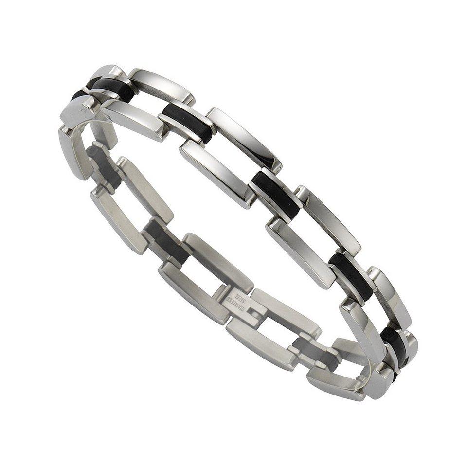 Zeeme Armband »Edelstahl mit Kautschuk schwarz« in ohne