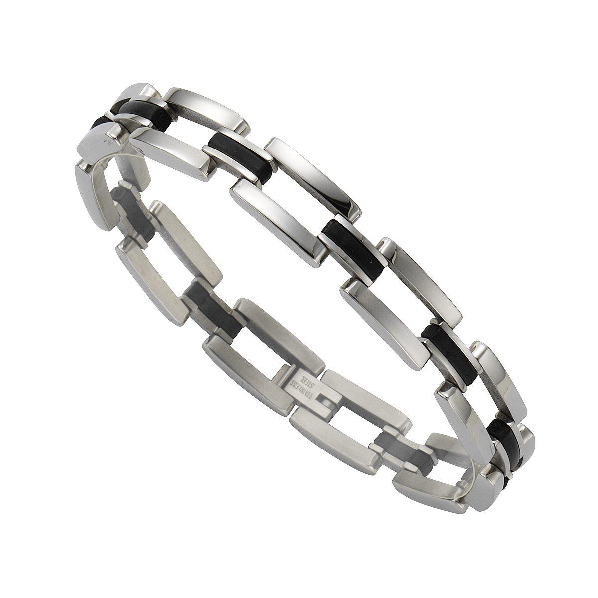 Zeeme Armband »Edelstahl mit Kautschuk schwarz«
