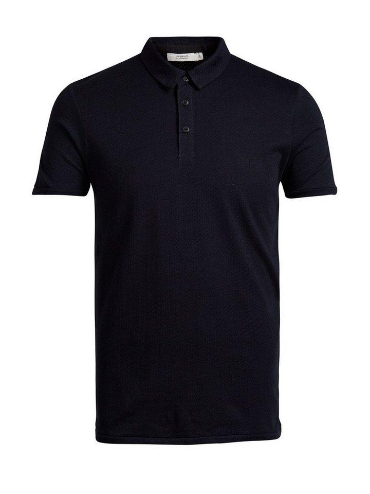 Jack & Jones Strukturiertes Poloshirt in Navy Blazer