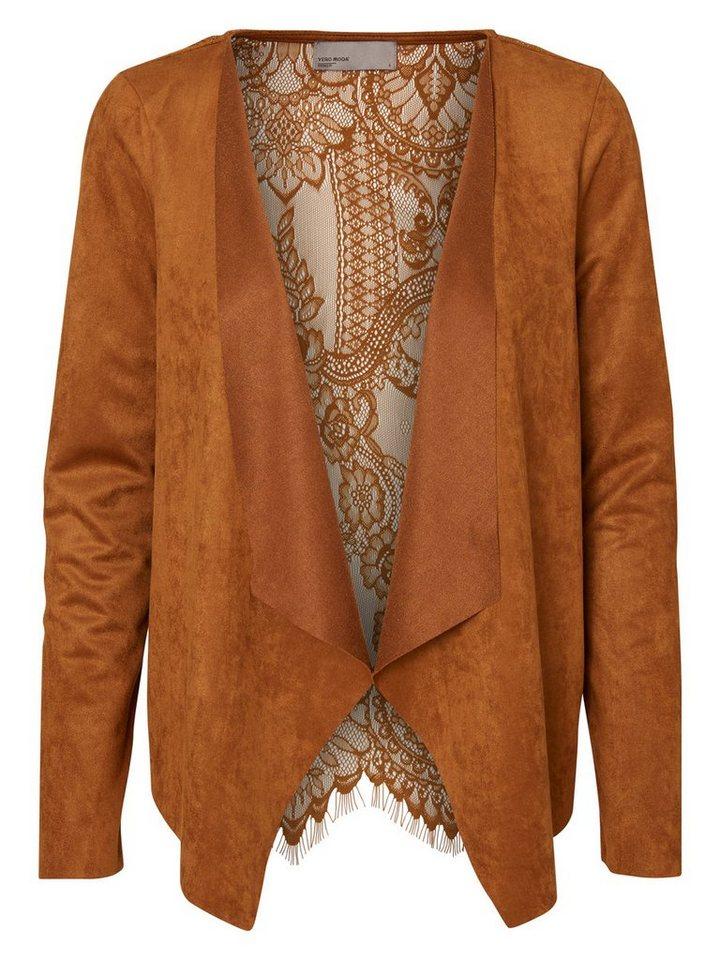 Vero Moda Mit Spitze verzierter Wildlederimitat- Blazer in Monks Robe