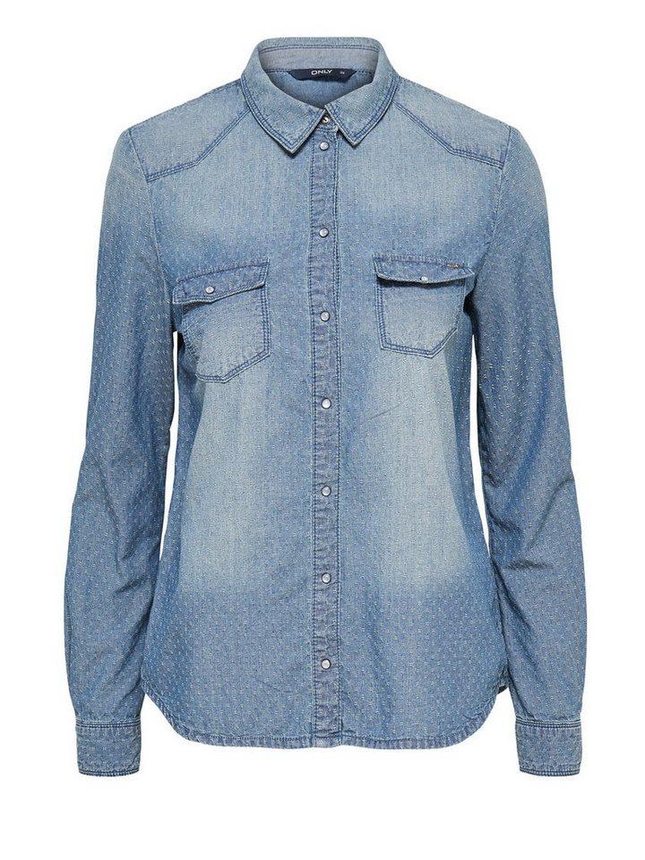 Only Langärmeliges Jeanshemd in Light Blue Denim