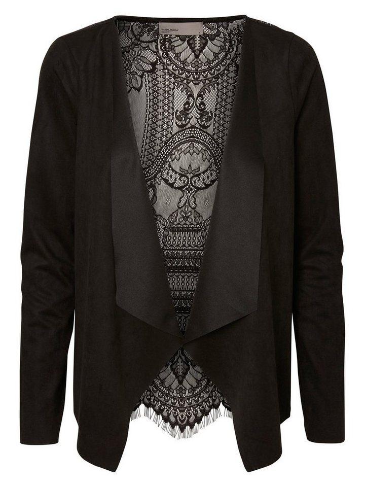 Vero Moda Mit Spitze verzierter Wildlederimitat- Blazer in Black