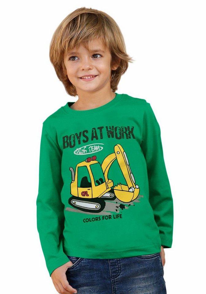 CFL Langarmshirt mit Schaufelbaggermotiv in grün
