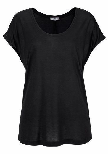 AJC Oversize-Shirt, mit Leder Imitat