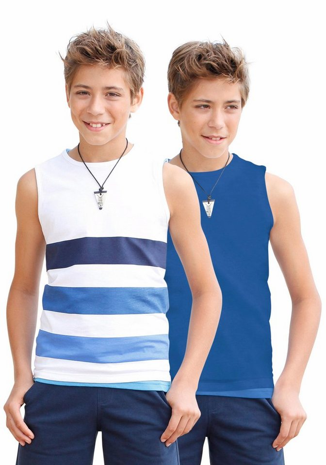 KIDSWORLD Tanktop (Packung, 2 tlg., 2er-Pack) in weiß-blau-gestreift+royalblau