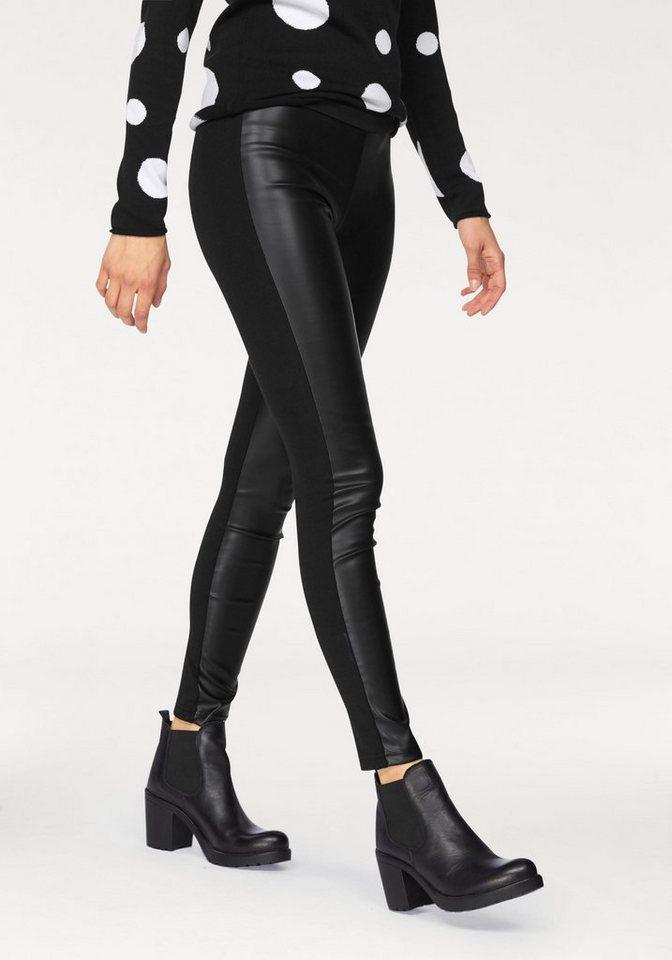 AJC Leggings mit Leder Imitat vorne in schwarz