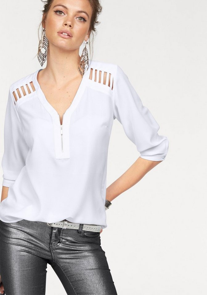 Melrose Chiffonbluse mit Cut-Outs an den Schultern in weiß