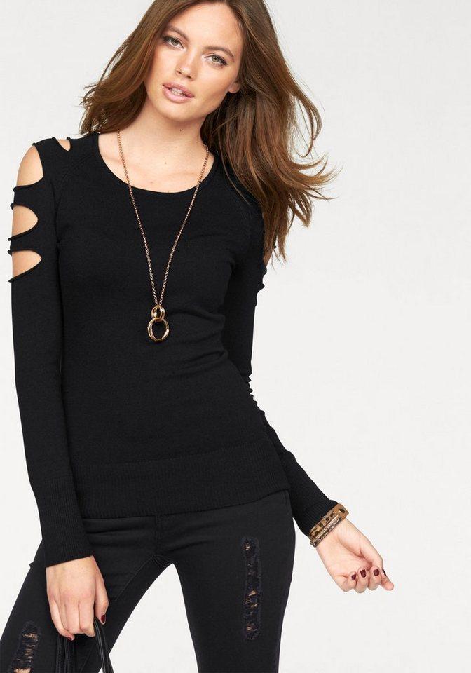 Melrose Rundhalspullover mit Cut-Outs auf den Schultern in schwarz