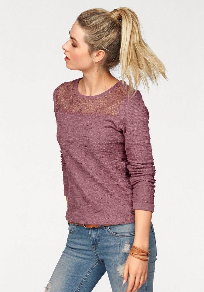 AJC Sweatshirt mit Einsatz aus Spitze in altrosa