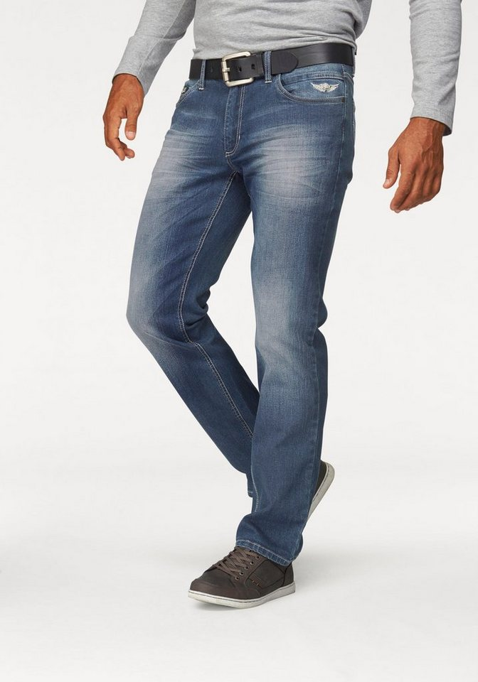 Arizona Stretch-Jeans »Jim« Straight Fit in blue-used