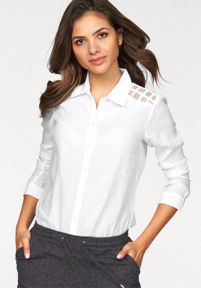 AJC Hemdbluse mit Schulter-Passe aus transparentem Karo in weiß