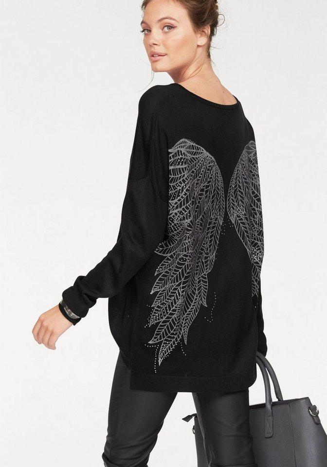 Melrose Longpullover mit großem Flügel-Print in schwarz