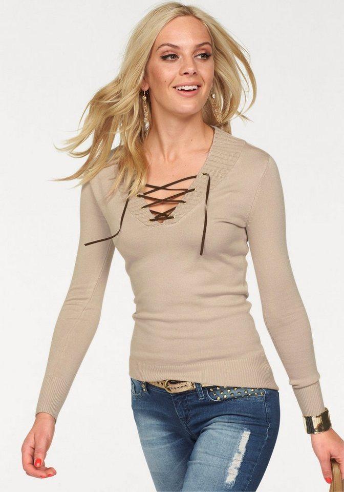 Melrose V-Ausschnitt-Pullover mit Velour-Schnürung in beige