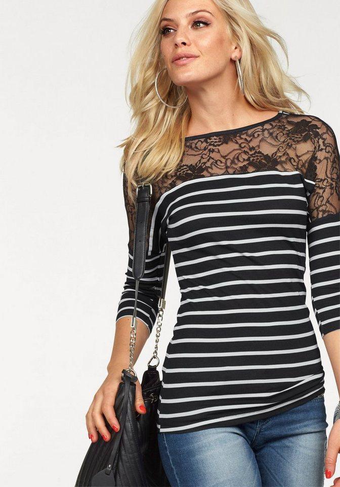 Melrose 3/4-Arm-Shirt mit Spitzeneinsatz in schwarz-weiß
