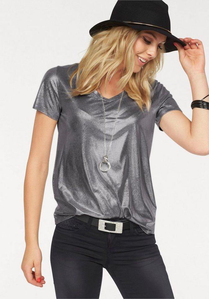 Melrose T-Shirt mit Glanz-Print in silberfarben
