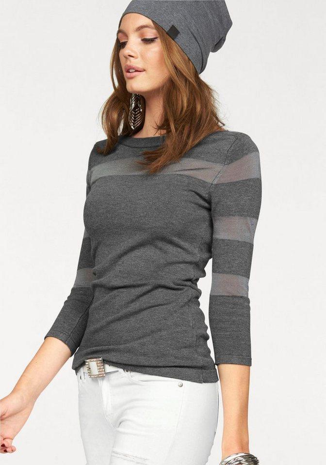 Melrose 3/4 Arm-Pullover mit transparenten Streifen in grau-meliert