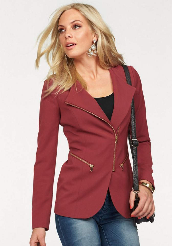 Melrose Blazer mit Zipper-Details in bordeaux