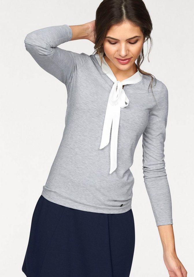AJC Blusenshirt mit Binde-Schluppe aus leichtem Chiffon in grau-meliert-wollweiß